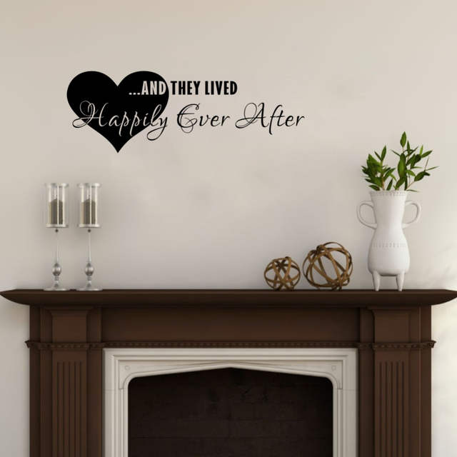 Online Shop Love Quotes Wall Stickers They Lived Happily Ever After