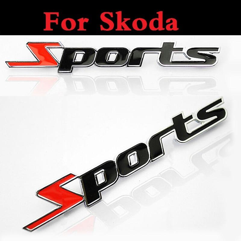 3D Sports type Car Sticker cover Emblem Badge Decal styling for Skoda Citigo Fabia RS Octavia Octavia RS Rapid Superb Yeti