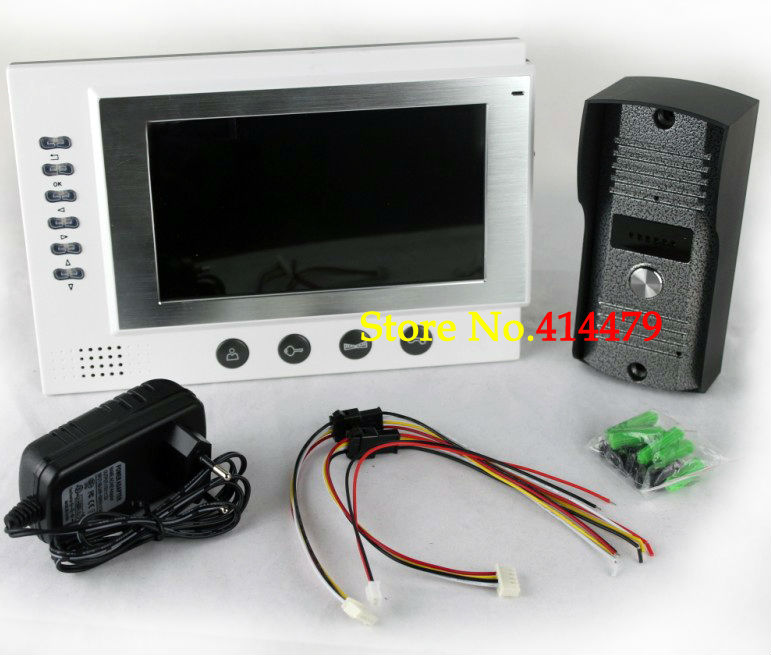 Home 7 inch TFT Monitor LCD Color Video Record Door Phone Bell Intercom System IR Camera