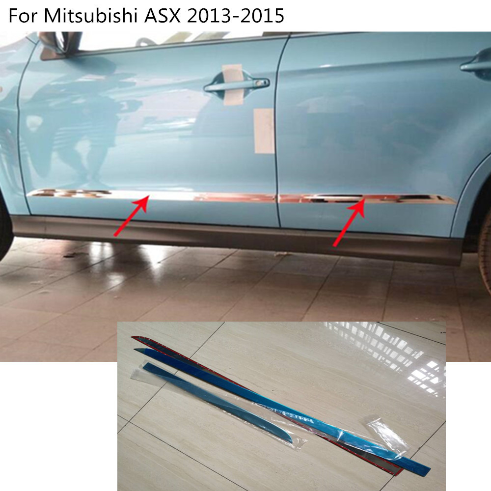 High Quality Car Stainless steel Side Door trim Strip Molding Stream lamp panel bumper 4pcs For Mitsubishi ASX 2013 2014 2015