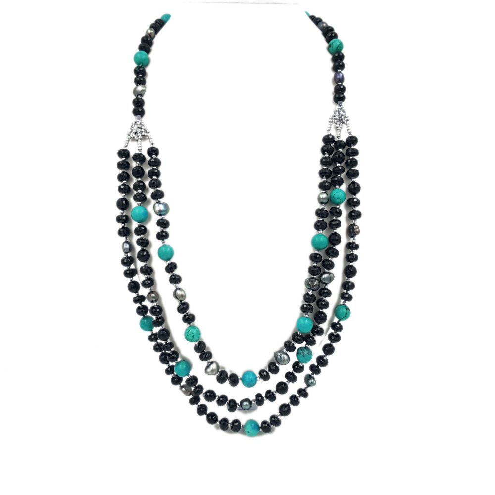 Lii Ji Natural Black Agate Dye Color White Turquoise Freshwater Pearl Hematite Beads 3 Rows Necklace stylish natural black agate necklace 43cm
