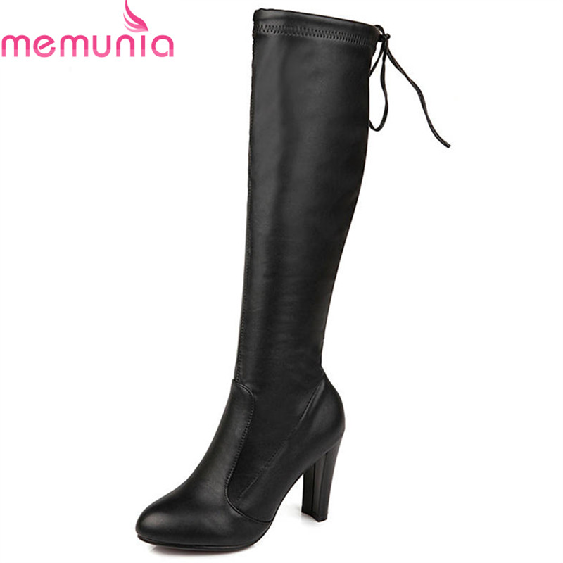 MEMUNIA 2018 big size 34-43 knee high boots women round toe autumn winter fashion boots solid color high heels shoes woman new women dress shoes knee high boots woman round toe high heels autumn winter long boot hot fashion riding boots big size 35 43