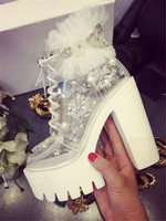 Ladies Beautiful Round Toe Rhinestones PVC Lace up Short White Boots Lace Beaded Transparent Platform Chunky Heel Ankle Booties