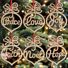 HAOLIVE 6PCS Creative Christmas Tree Wood Crafts Pendant DIY Ornaments Party Holiday Wedding Christmas Decoration Wooden Decor