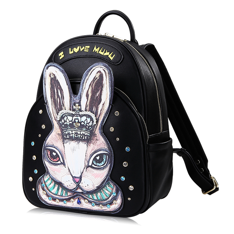 Women Leather Embroidery Backpack Girl Schoolbag Student Bag Female Travel Bag Totes Braccialini Style Art Cartoon Pearl RabbitWomen Leather Embroidery Backpack Girl Schoolbag Student Bag Female Travel Bag Totes Braccialini Style Art Cartoon Pearl Rabbit