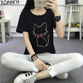 Women T-Shirt 2017 Summer New Fashion Cat Print T-Shirts High Quality Comfortable Cute Women Tops Soft Vetement Femme TS006
