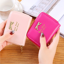 New fashion design ladies wallet cute hot bi-fold short mini zipper PU leather