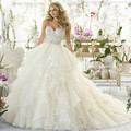 Luxury Beads Handmade Strapless Ball Gown Lace Wedding Dress 2017 Ruffles Organza Vestido De Novia Vintage Bridal Gown  WB109