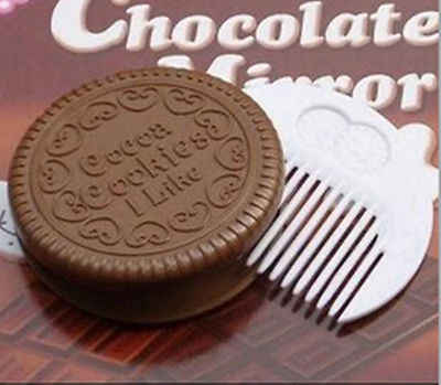 Mini Pocket Chocolate Cookie Biscuits Compact Mirror With Comb ~Cute~deep coffee color