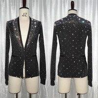 Shiny Rhinestone Mens Latin Dance Tops Shirts Black V neck Dance Shirt Ballroom Latin Dancing Clothes Male Competition Dancewear