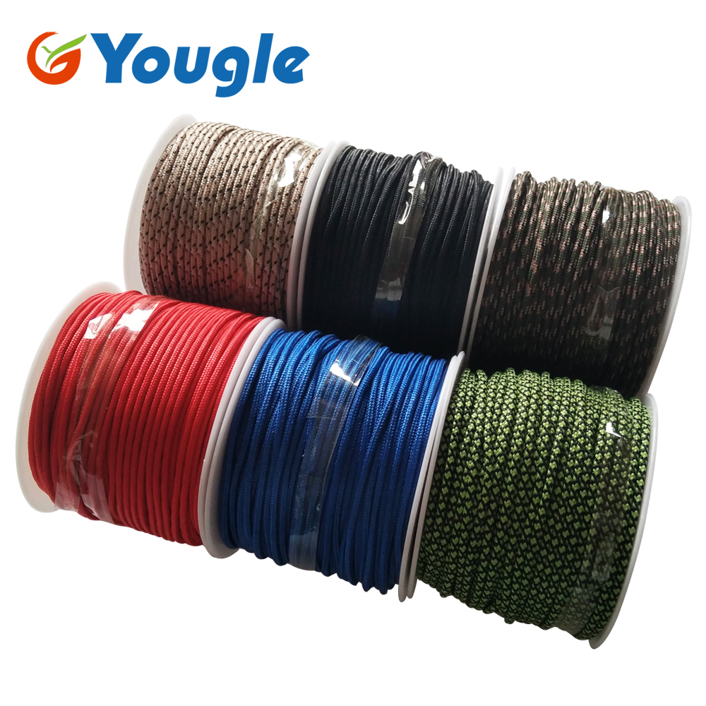 YOUGLE 2mm 3 Strands 164FT 50m Paracord Parachute Cord Outdoor Hiking Camping Tent Rope Fishing Line Emergency Lanyard Rope outdoor emergency surviving quick release parachute hand rope cord bracelet w whistle blue
