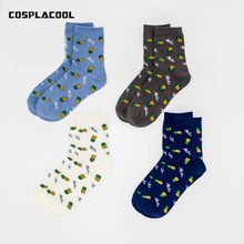 [COSPLACOOL]New 4 Color Fruit Pineapple Unisex Creative Socks Women Harajuku Japan Embroidery Sokken Funny Short Meias No Box(China)