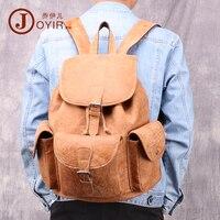 New Genuine leather drawstring backpack men 2019 Casual outdoor men backpack travel laptop bag Retro fashion leather man bag