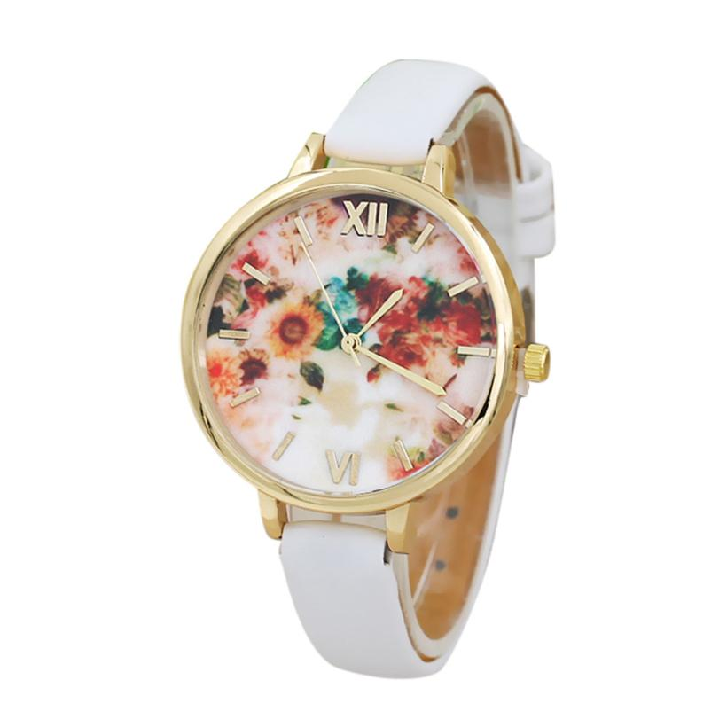 Relogios Simple Flower Printing Pattern Round Case Faux Leather Band Analog Quartz Movement Gifts my31