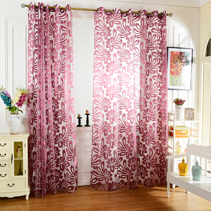 Home Textile Flower Embroidered luxury 3D Voile Curtains fabric ...