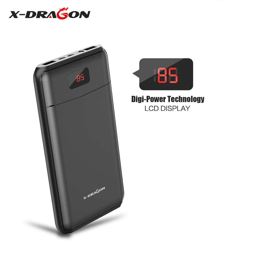 X-DRAGON Power Bank Backup Phone External Battery 13000mAh Powerbank with LED Lights LCD Display for Apple Android Smartphones.