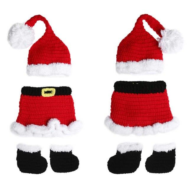 b8d916ee49979 3Pcs Hat Dress Shoe Baby Photo Props Set Newborn Infant Crochet Knit Xmas  Santa Costume Photography Props 0 to 4 Months