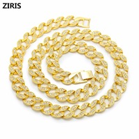 Golden Full Rhinestone Electroplated Miami Cuban Necklaces Hip Hop Rock Jewelry Gifts Women Men Bling Iced Out Crystal Chains