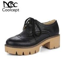 9accaa4dde4414 Coolcept brytyjski styl szpilki Lace Up platforma akcentem buty gruby obcas  pompy urząd Lady obuwie rozmiar