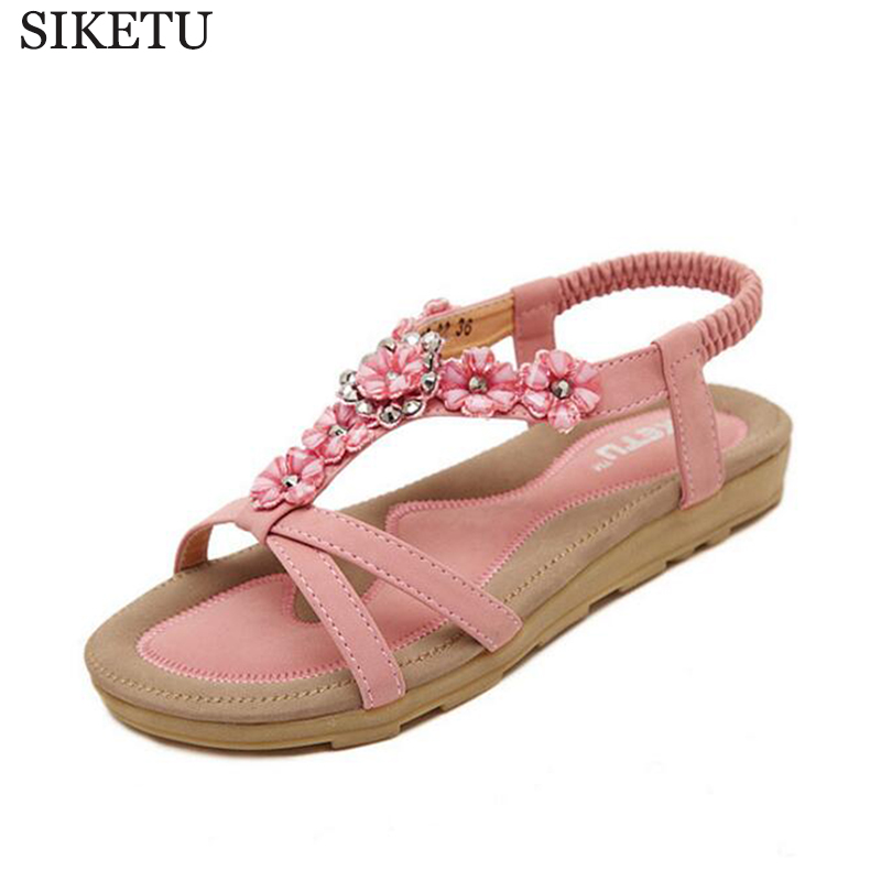где купить 2017 New Woman Summer Flat Sandals Ladies Summer Bohemia Beach Flip Flops Shoes Women Shoes Sandles Zapatos Mujer Sandalias z469 дешево
