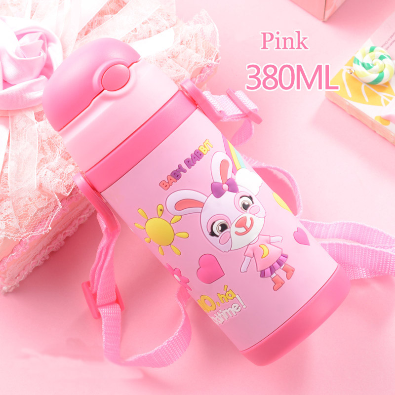 3D cartoon Thermos Cup Kids Thermo Mug soft silicone Straw Insulated Drink Water Bottle kart Vacuum Flask belt handle Tumbler