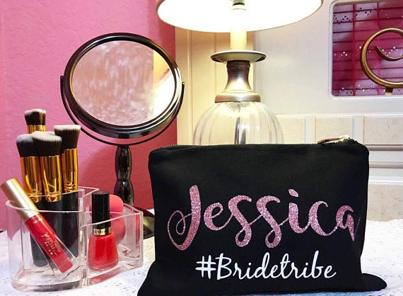 Personalize Bride Tribe Wedding Bridesmaid Make Up Makeup Cosmetic Bags Kits Bridal Party Birthday Present Gift Decorations