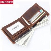 UMODIER Brand RFID Wallet Fashion Men Wallet Genuine leather coin pocket zipper Short Purse 2 Fold Male Purses Cards wallets