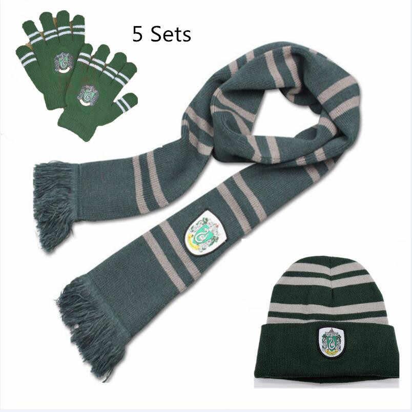 f5f02a0ace793 5 Sets Wholesale Hogwarts School Gryffindor Hermione Ronald Women Hat Scarf  Set Caps Beanies Tie