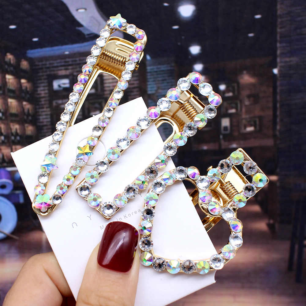 New Fashion Shiny Crystal Hairpin Colorful Glitter Hair Clips Geometric Hair Accessories for Women Girls Barrettes Drop Shipping