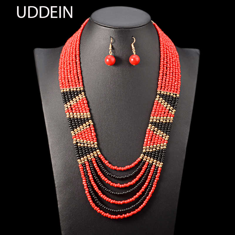 UDDEIN African bead jewelry sets bohemian necklace & pendant multi layer wedding accessories bib beads necklace earrings set