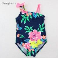 الطفل ملابس الفتيات كحلي مع الزهور نمط 2-7 y الاطفال قطعة واحدة المايوه الأطفال ملابس السباحة الاستحمام دعوى sw0820