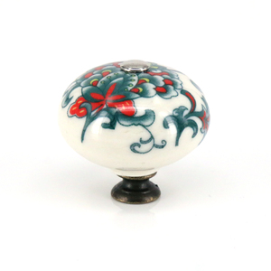 Poignées de tiroirs pour commode cuisine | Boutons de tiroirs ronds en céramique artistique durables de 2 pièces, poignées pour armoire de cuisine, boutons de meubles décoratifs colorés