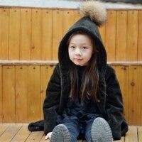 2017 Children Full Wool Coat Outwear Kids Girls Winter Solid Color Natural 100% Lamb Fur Long Warm Jacket Hooded Coat for Girls