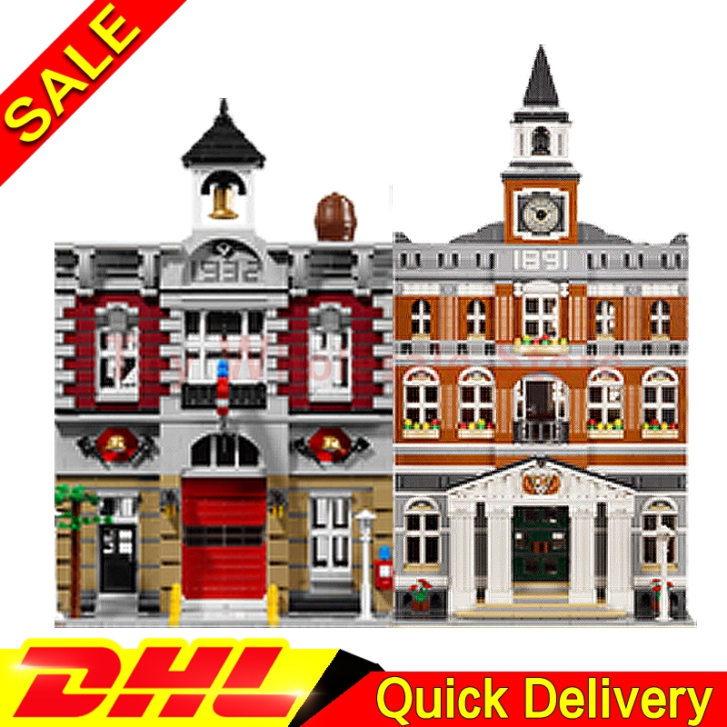 Lepin 15003 town hall + Lepin 15004 Fire Brigade City Street Model Building Blocks Bricks Kits lepins Toy Clone 10224 10197 lepin 15003 town hall lepin 15009 pet shop supermarket city street model building blocks bricks lgoings toys clone 10224 10218