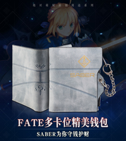 Anime Fate/stay night New fashion cos saber PU gray color man woman zipper short Wallet Leisure fashion saber gift Wallet
