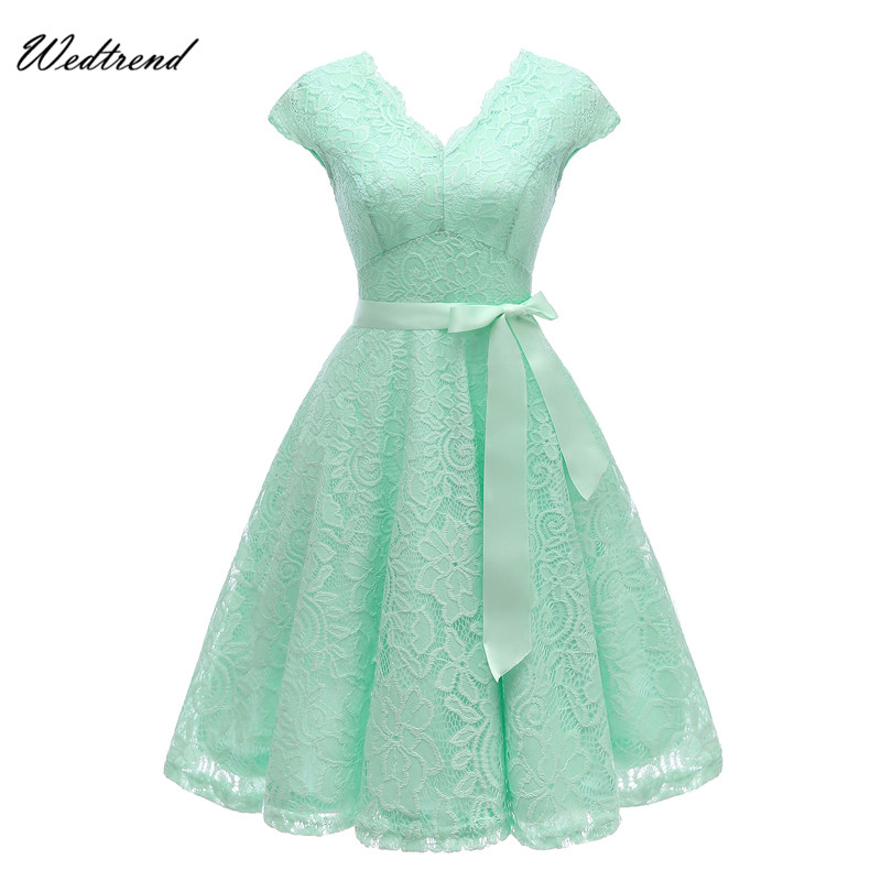 Wedtrend V-Neck Lace Knee-Length Women's Dresses With Short Sleeves Dress For Women Dress Female New Arrival Chic Cheapest Price new arrival 2018 autumn knitted dresses fashion women long sleeve v neck knee length dress casual solid female dress clothes