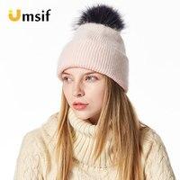 New Brand Women's Raccoon Fur Pompom solid Beanies Hat Pom Pom Beanie Hat Casual Velvet Skullies Beanies Polyester Knitted Hats
