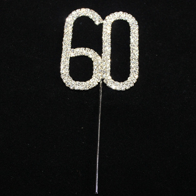 Rhinestone Crystal Cake Topper Number Pick 60 70 80 90 100 Birthday Anniversary Decoration Centerpieces
