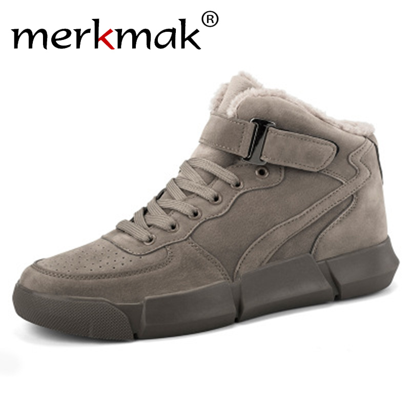 Merkmak Winter Men Boots Plus Velvet Warm Sneakers Outdoors Waterproof Shoes Men High Top Lightweight Boots Solid Footwear