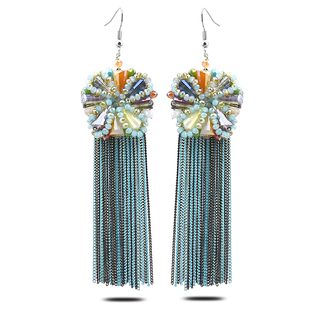 H180 blue crystal beads fashion amazing acessories earrings