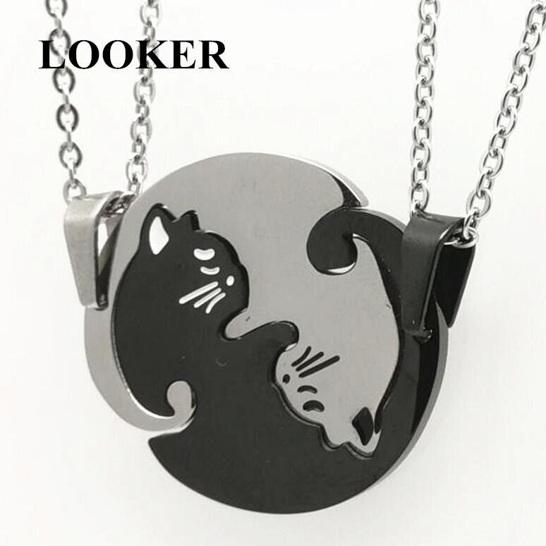 LOOKER Couples Jewelry Necklaces Black White Couple Necklace Titanium Steel Animal Cat Pendants Necklace