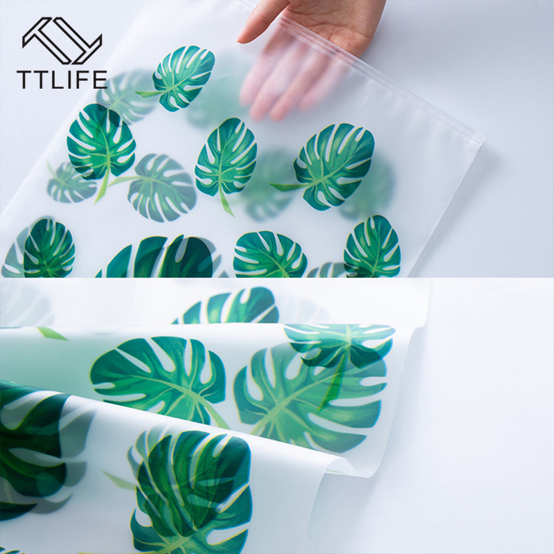 Image 5 - TTLIFE EVA Matte Tropical Leave Clothes Storage Bag Waterproof Transparent Seal Travel Organizer Pouch Toiletry Wash Kit 5 Sizes-in Storage Bags from Home & Garden
