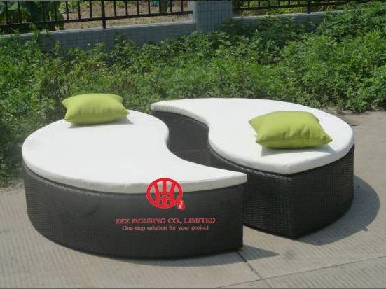 Outdoor Furniture Multi-position Beach Round Outdoor Daybed,garden Beach Lounge Chair