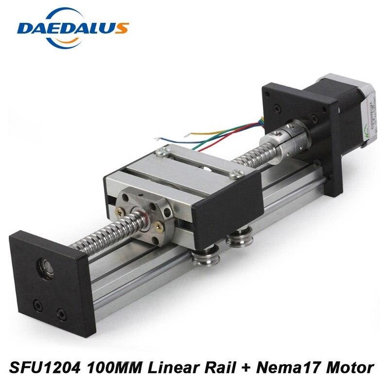 Longueur linéaire de voyage d'étape de glissière 100mm Table linéaire de glissière SFU1204 + moteur pas à pas Neme17 pour CNC