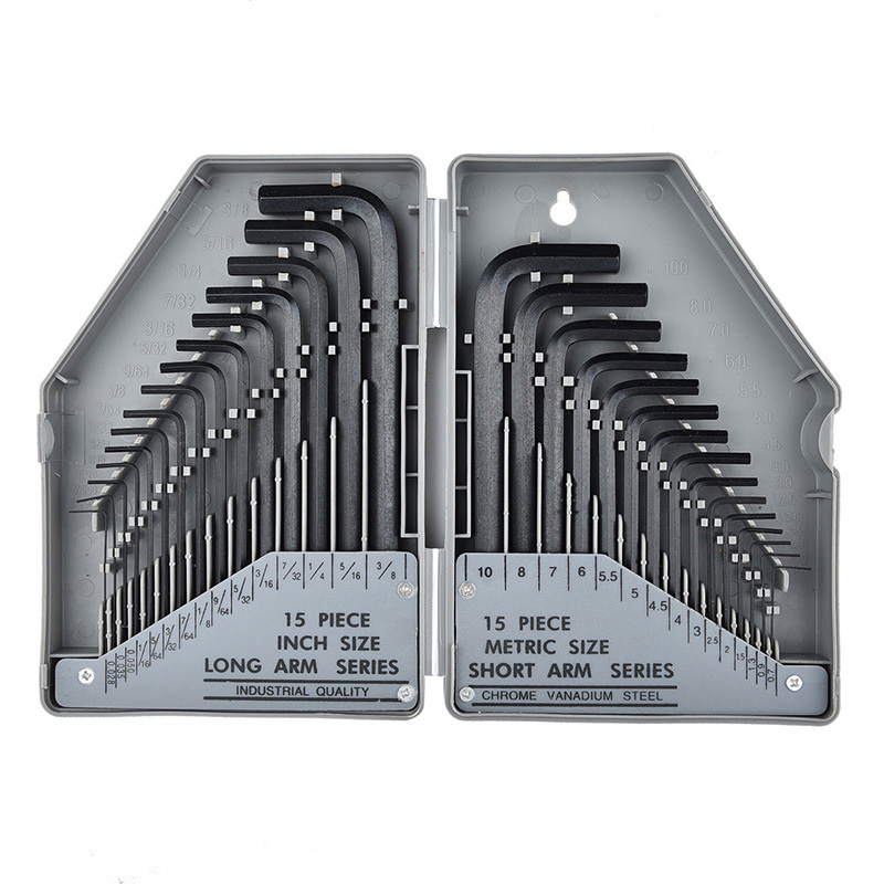 30 pcs/ensemble allen clé SAE et Métrique taille Hexagonale clé Chrome vanadium outils set Universal clé Hexaèdre