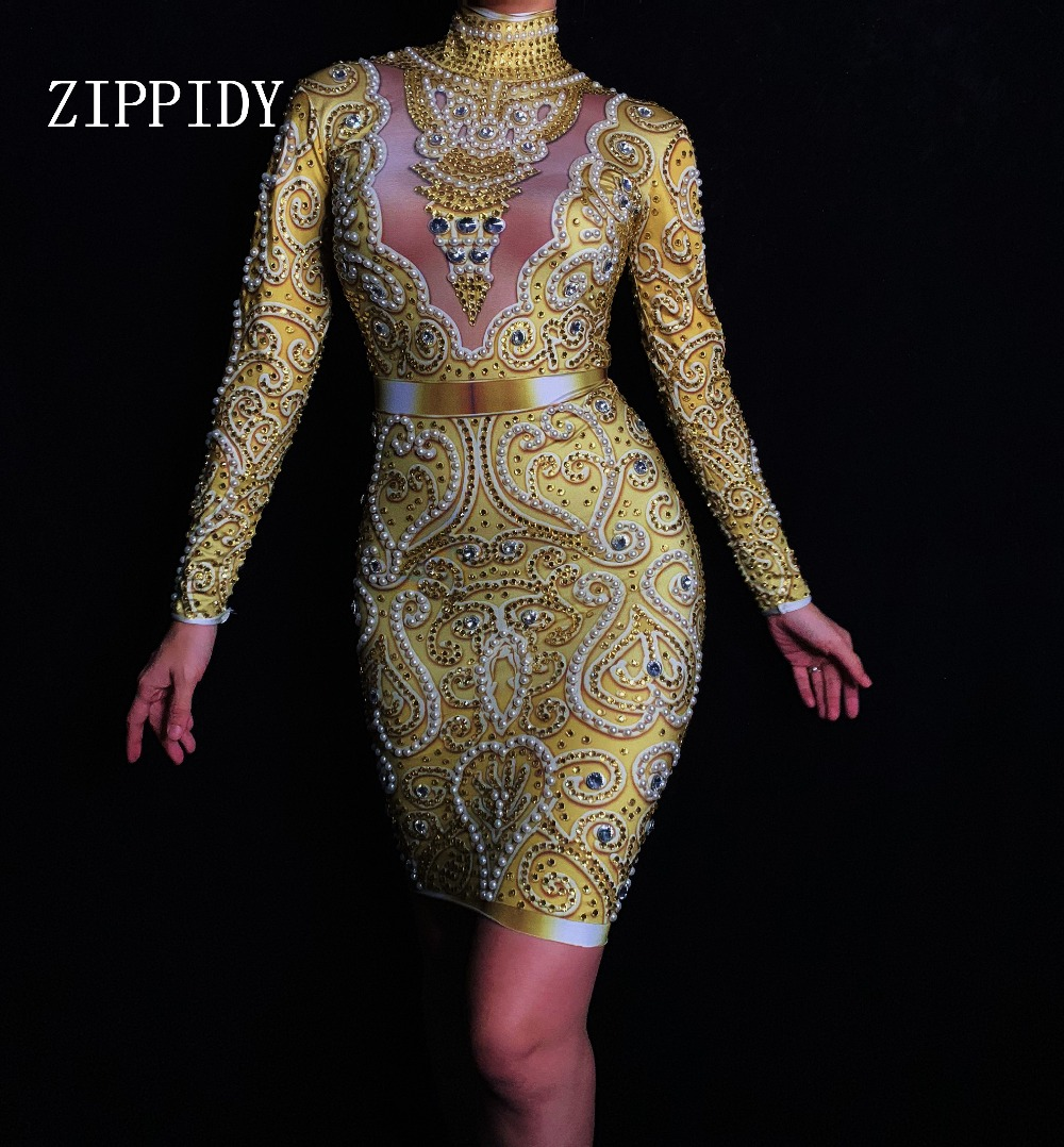 Fashion Rhinestones Pearls Dress Long Sleeves Women s Gold Dress Female Singer Clothes Birthday Celebrate Evening