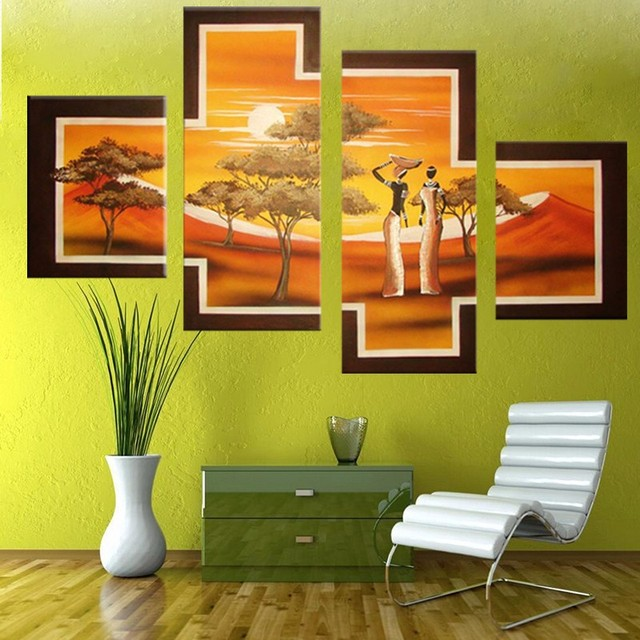 4 Pcs/Set No Framed Hand Painted Paintings African People Tribal ...