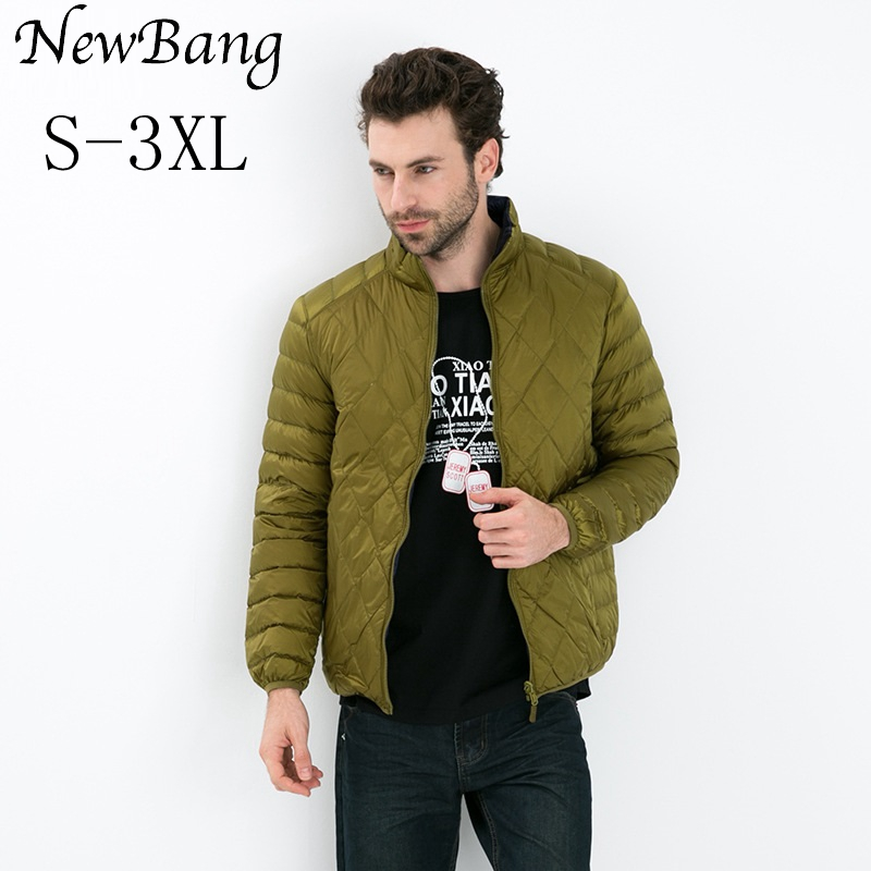 NewBang бренд ультра легкая пуховая куртка для мужчин Двусторонняя Перо Двусторонняя парка пальто ромбиками ветрозащитный Теплый легкий пухо...