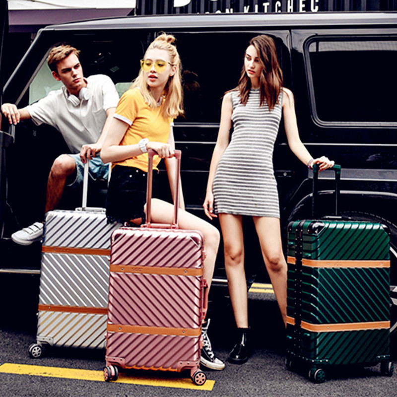 ABS Business Travel Rolling Luggage Aluminum Frame Alloy Spinner Wheels Airplane Suitcase Carry On Trolley Luggage 20 24 Inch 20 25 29 aluminum magnesium alloy metal luggage fashion spinner rolling suitcase business aluminum frame luggage