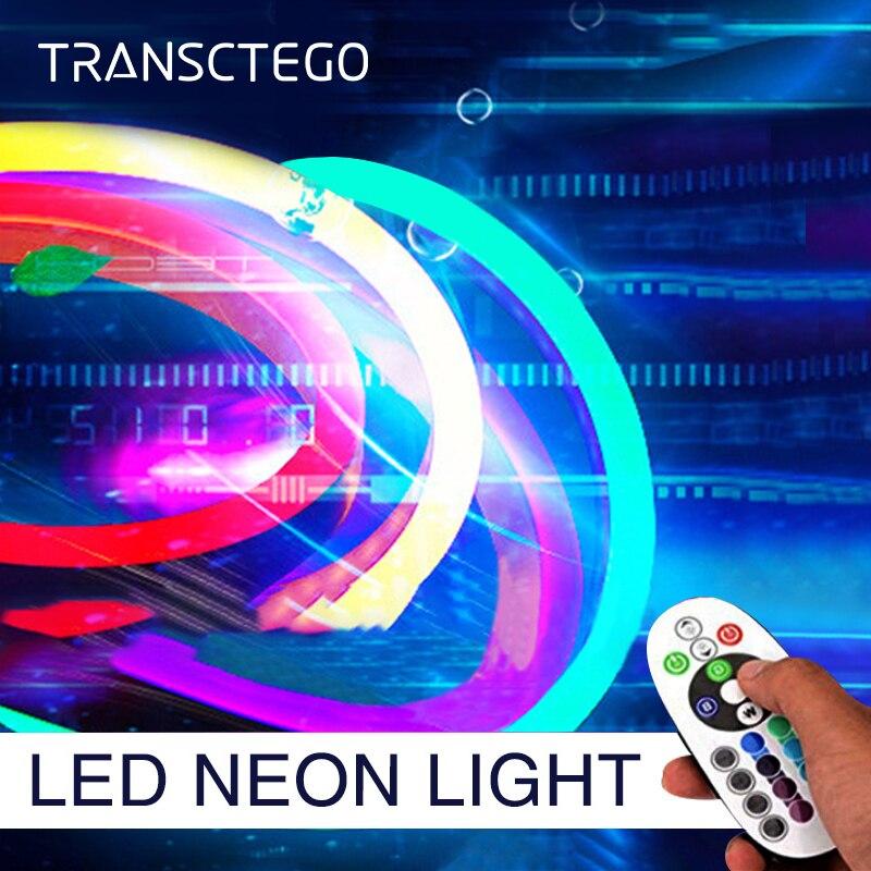 5 mètres néon bande lumière Flexible RGB LED néon lumière extérieure 120 LED s/M étanche 2835 lampes de corde pour la décoration de jardin à la maison